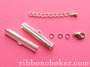 Ribbon Clamps, lobster clasps, jump rings and extension chains